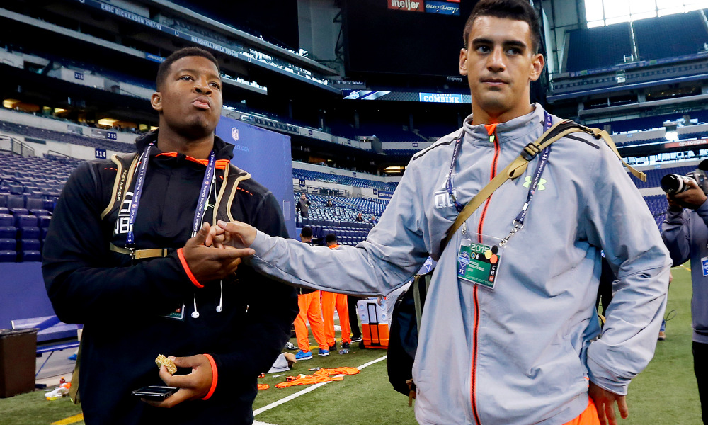 Winston and Mariota during the NFL combine prior to the 2015 NFL draft.