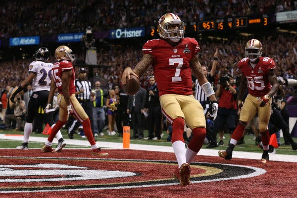 Colin Kaepernick leads the 49ers in the Super Bowl